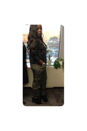black Forever 21 blazer - olive green Accessorize pants - black Boohoo wedges