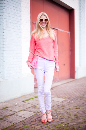 periwinkle Topshop jeans - bubble gum Forever21 sweater - hot pink no-brand bag