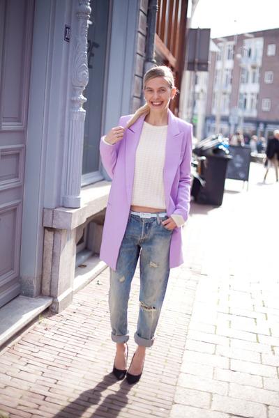 light purple Choies coat - blue Levis jeans - ivory Topshop sweater