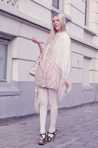 beige Urban Outfitters scarf - black Zara shoes - ivory H&M dress