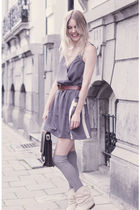 gray modcloth dress - vintage boots - H&M socks - vintage - vintage belt