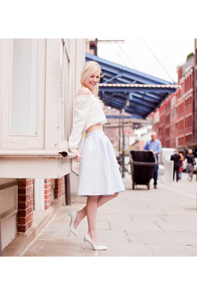 ivory H&M top - light blue Topshop skirt - light blue Aldo heels