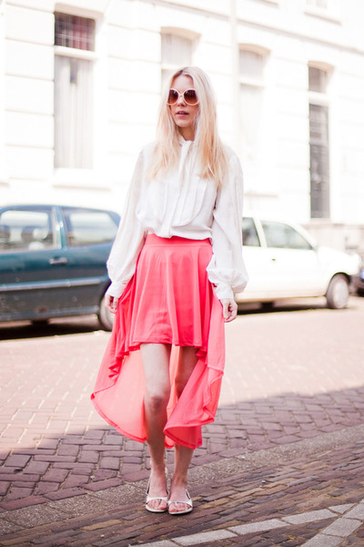 coral H&M skirt - white 31 Phillip Lim blouse - silver Prada sandals