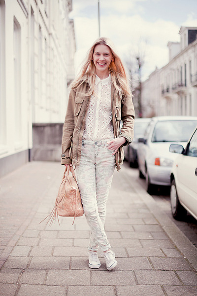 white Zara blouse - cream Topshop jeans - army green H&M jacket