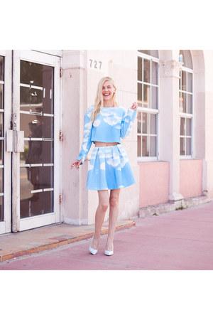 sky blue cloud print Choies top - sky blue cloud print Choies skirt