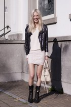 black sequined biker Zara jacket - black cut-out Miista boots