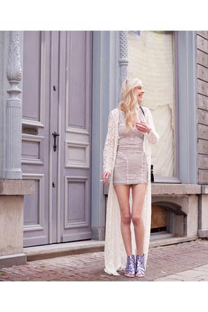 violet Miista heels - periwinkle Topshop dress - ivory Zara vest