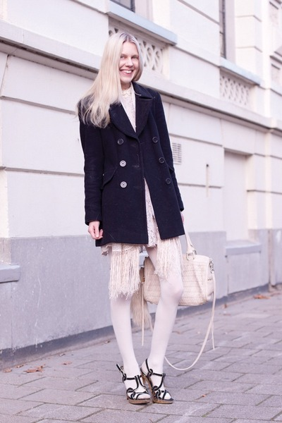 black Zara heels - black Laura Ashley coat - off white H&M tights