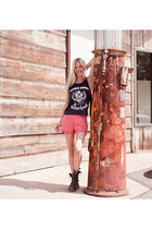 black Frye boots - pink Forever 21 shorts - black Topshop top