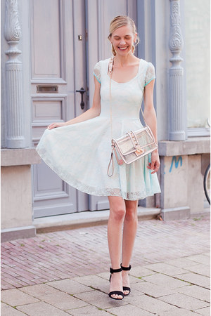 light blue Boohoo dress - light pink Choies bag - black Zara sandals