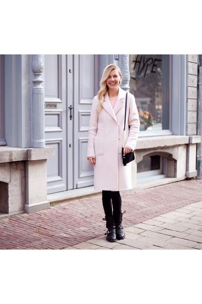 black All Saints boots - light pink Zara coat - black H&M tights