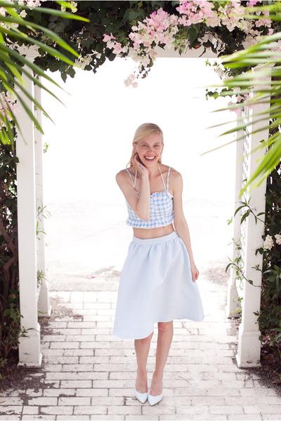 sky blue Topshop shirt - sky blue Topshop top - light blue Aldo heels