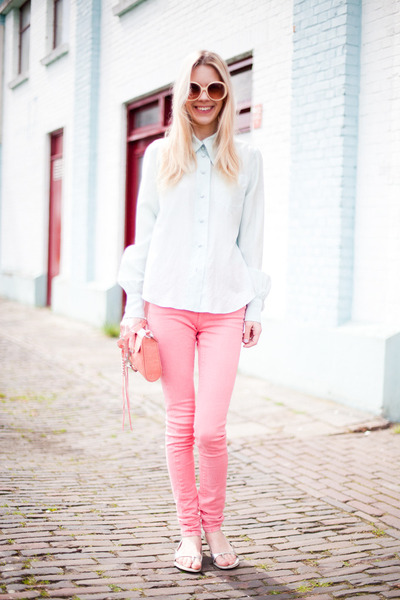 pink Topshop jeans - pink Rebecca Minkoff bag - silver Prada sandals