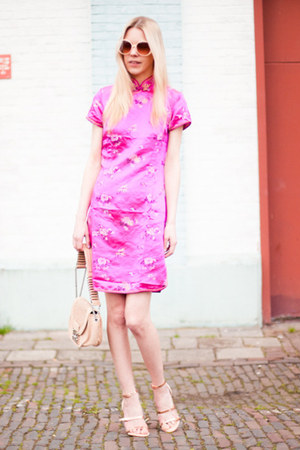 hot pink no-brand dress - peach Zara shoes - neutral Lucette bag