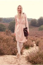 peach shopsosie dress - light pink Miista boots - dark brown botkier bag