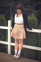pink zac posen for target skirt - black Gap cardigan - white Gap top - white Soc