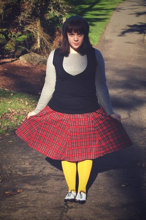 black Target shoes - gold Marshalls tights - red thrifted skirt