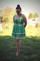 green Forever 21 dress - beige Frye shoes - purple calvin klein glasses