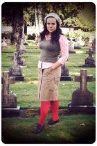 red foot traffic tights - brown BC footwear shoes - beige Gap skirt - green Targ