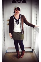 brown Steve Madden boots - dark brown cardigan - white sailor Gap top - olive gr