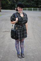 black Gap dress - blue Marshalls tights - gray Seychelles thrifted shoes - black