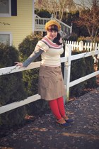 navy LL Bean boots - red Sock Dreams tights - cream Forever 21 sweater - camel G