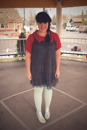 e7c4ffc46f38 red Tulle top - charcoal gray Target dress - aquamarine We Love Colors  tights -