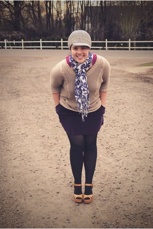 tan Ross sweater - purple Gap scarf - tan Target clogs