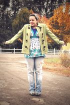 green Gap coat - blue Top - blue Gap jeans - green BC footwear shoes