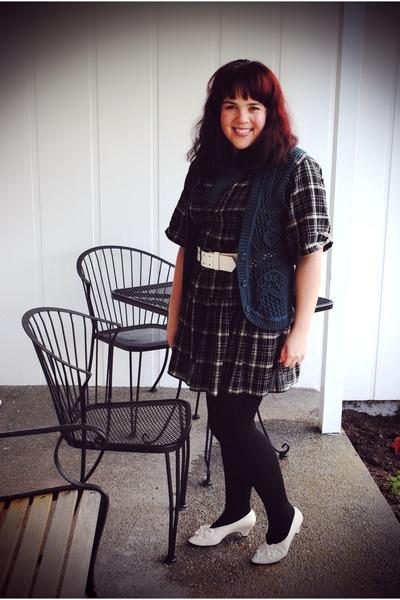black Gap dress - teal Ross vest - ivory vintage heels
