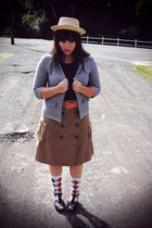 beige Forever 21 hat - blue thrifted blazer - orange Gap belt - brown Gap skirt
