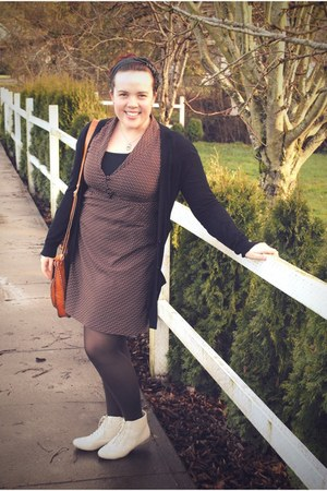 ivory Wanted boots - brown Old Navy dress - black Gap cardigan