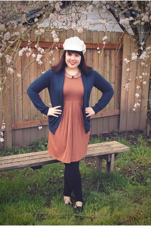 tawny asos dress - white thrifted hat - navy Gap cardigan - black seychelles loa