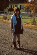 light blue UO cardigan - navy Tucker for Target dress - brown Frye boots - brown