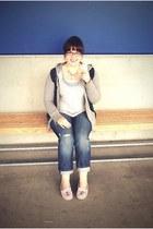 navy Gap jeans - teal Ross vest - light pink Minnetonka loafers - heather gray j