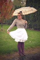 white Gap Outlet skirt - purple We Love Colors tights - brown Gap Body t-shirt -