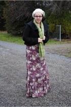 purple asos dress - black Tulle Clothing jacket - ivory Gap hat - olive green sc