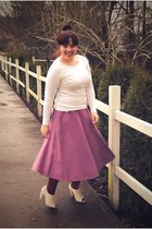 off white Gap sweater - purple thrifted skirt - off white seychelles heels