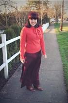 carrot orange Tulle sweater - brown Steve Madden boots - crimson thrifted skirt