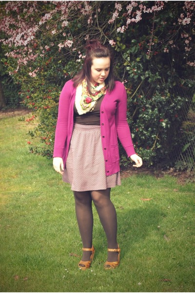 beige vintage scarf - magenta Gap cardigan - purple Gap skirt - tan Target clogs