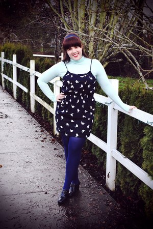 navy Nasty Gal dress - aquamarine Gap top - navy We Love Colors tights - black v
