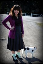 purple cardigan - gray skirt - green We Love Colors socks - black seychelles sho