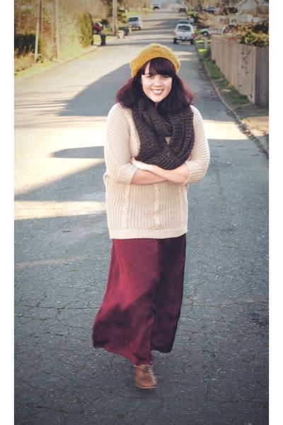 mustard Forever 21 hat - camel Ross sweater - dark brown Ebay scarf - crimson th