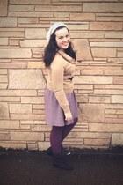 black Aldo boots - ivory Gap hat - camel Gap sweater - purple We Love Colors tig