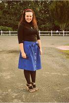 silver seychelles clogs - black Hot Sox tights - blue shade clothing skirt - bla