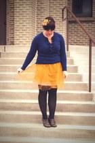 gold Rodarte for Target dress - blue Gap sweater