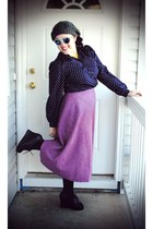 black Jeffrey Campbell wedges - navy thrfited blouse - amethyst thrfited skirt