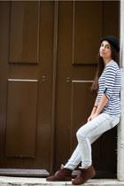 brown Zara shoes - grey wash Zara jeans - black c&a hat - striped Pimkie top