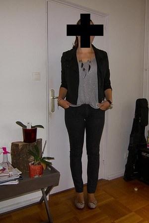 Bel Air jeans - Mango jacket - Zara top - Zara flats