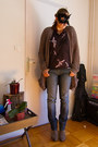 Minelli-boots-do-my-jeans-jeans-zara-shirt-american-vintage-cardigan